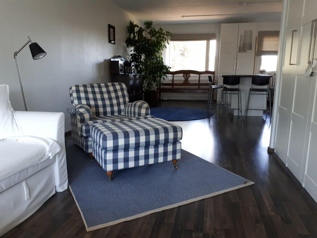 Sinivalkoruudullinen nojatuoli valoisassa olohuoneessa.