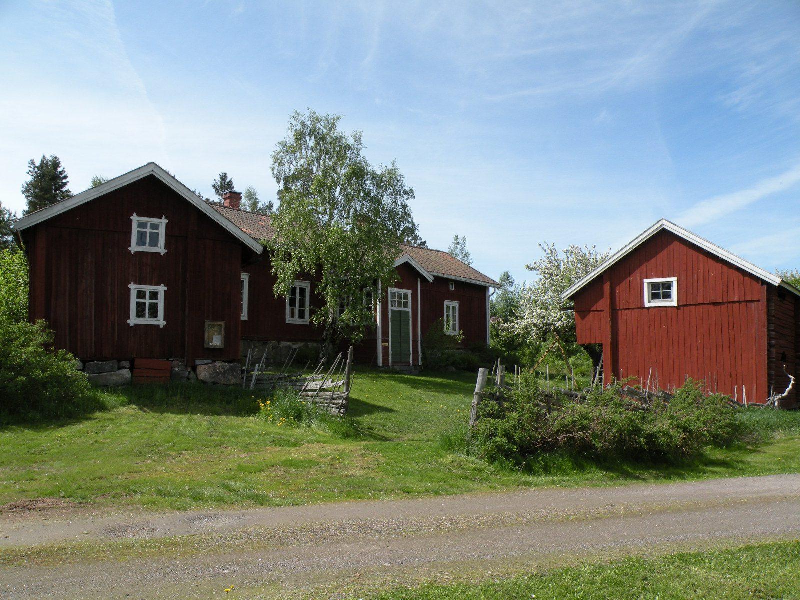 Punaisia maalaisrakennuksia Rymättylässä kotiseutumuseon pihapiirissä.