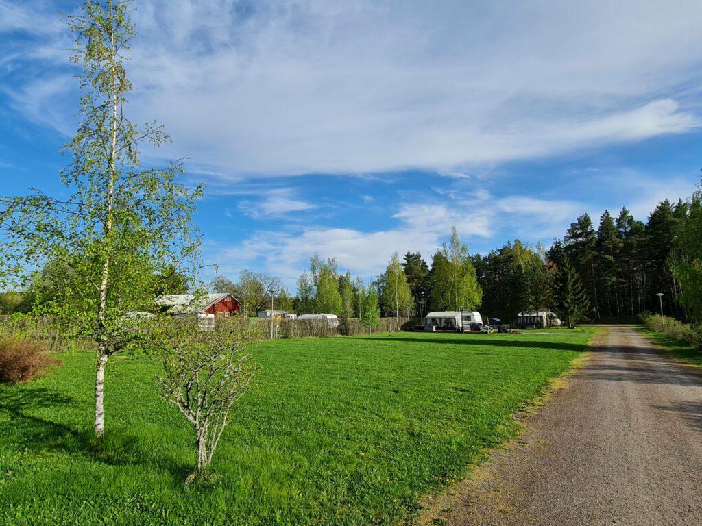 Villan tilan leirintäalueen nurmikko ja asuntoautoja.